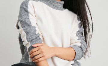 PETITE Grey Contrast Soft Touch High Neck Sweatshirt