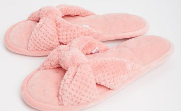 Pink Popcorn Knot Front Open Toe Pillowstep Slippers