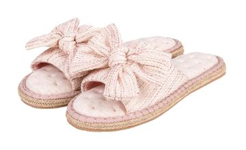 Pink Espadrille Bow Pillowstep Open Toe Slippers