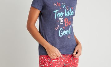 Christmas Navy Slogan Top & Candy Cane Print Pyjamas