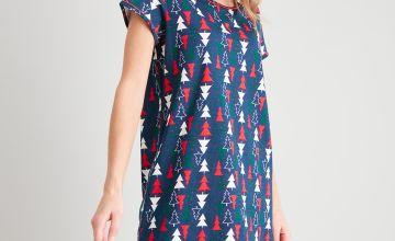 Christmas Navy Tree Print Nightdress