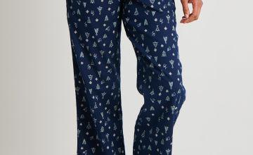 Christmas Tree Print Woven Pyjama Bottoms