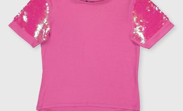 Pink Sequin Sleeve Party Top