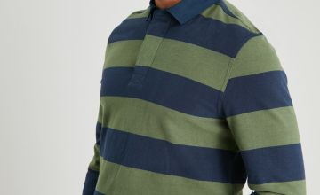 Navy & Green Stripe Rugby Shirt