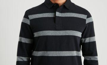 Black & Grey Stripe Rugby Shirt