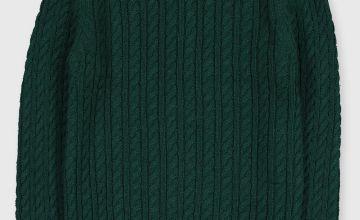 Green Cable Mock Collar Jumper