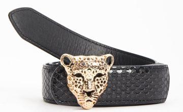 Black Leopard Buckle Belt