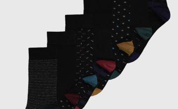 Black Pattern Stay Fresh Ankle Socks 7 Pack