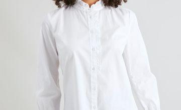 White Frilled Collar Shirt
