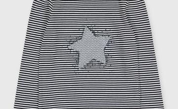 Stripe Sequin Star Design Top