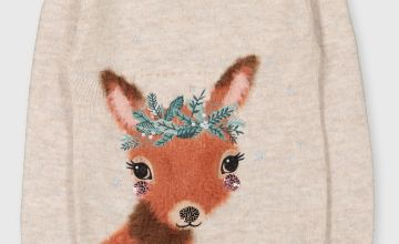 Oatmeal Sparkle Embroidered Deer Jumper