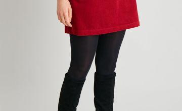 Red Corduroy Mini Skirt