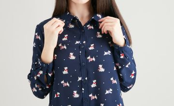 PETITE Christmas Navy Scottie Dog Shirt