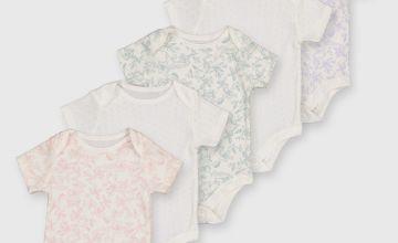 Floral Short Sleeve Bodysuit 5 Pack