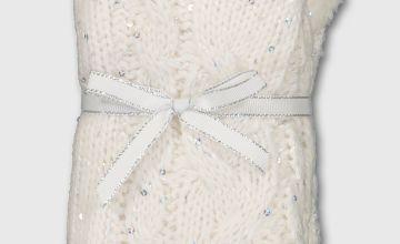 Christmas Cream Sequin Knitted Slipper Socks - 4-8