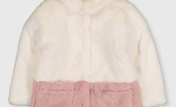 Colour Block Faux Fur Jacket