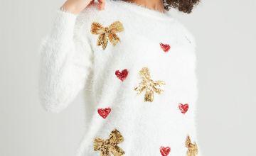 Christmas Eyelash Fluffy Sequin Jumper