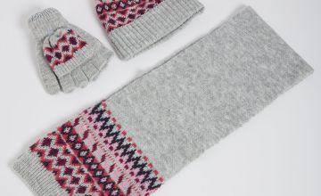 Grey Sparkle Fair Isle Knit Hat, Scarf & Gloves Set
