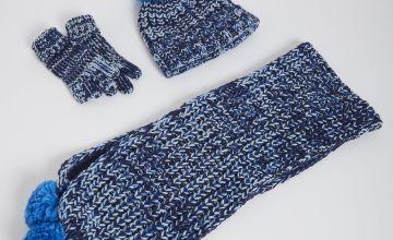 Blue Knitted Hat, Scarf & Gloves Set