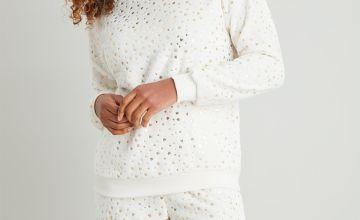 Cream Fluffy Gold Heart Print Pyjamas