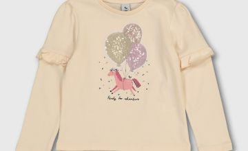 Cream Sequin Pony Club T-Shirt