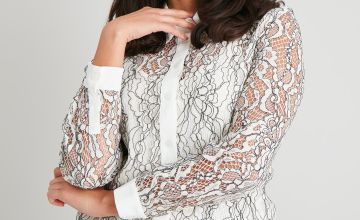Cream Lace Shirt With Cami Top