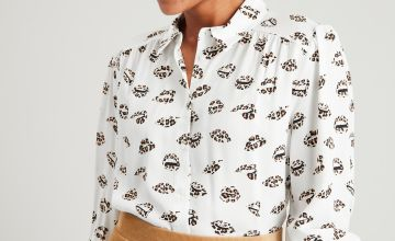 Leopard Print Lips 3/4 Sleeve Shirt