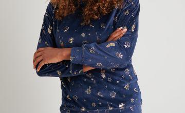 Christmas Navy Festive Foil Slinky Fleece Pyjamas