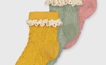 Cable Knit Frilly Socks 3 Pack