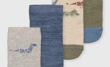 Grey Geometric Dinosaur Socks 4 Pack