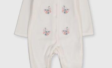 Velour Floral Motif Sleepsuit