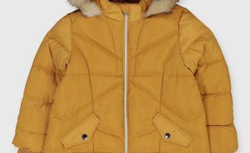 Mustard Shower Resistant Longline Padded Coat