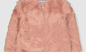Pink Faux Fur Zip Through Coat