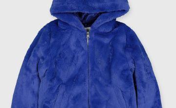 Blue Faux Fur Hooded Coat