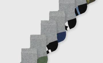 Grey Printed Ankle Socks 7 Pack