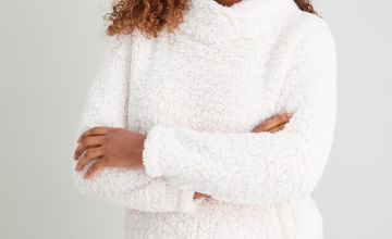 Pink Fluffy Funnel Neck Lounge Top