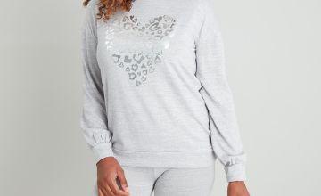 Grey Silver Foil Heart Soft Knit Pyjamas