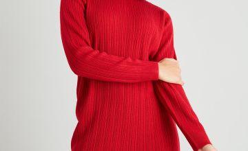 Red Rib Knit Jumper Dress