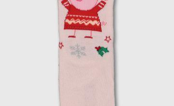 Christmas Mini Me Peppa Pig Pink Ankle Socks
