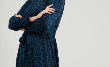 DO NOT APPROVE Teal Leopard Print Tie Belt Dress