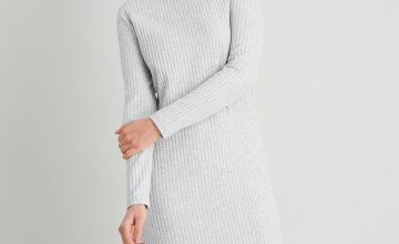Grey Ribbed Roll Neck Dress