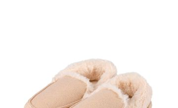 Beige Sparkle Moccasin Slippers