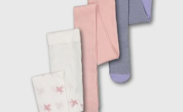 Pink Unicorn & Glitter Opaque Tights 3 Pack