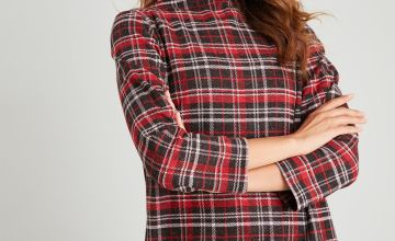 Red Check Brushed Shift Dress
