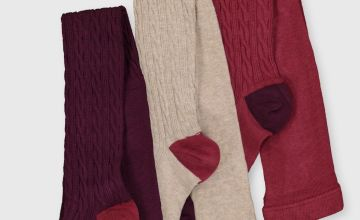 Cable Knit Supersoft Tights 3 Pack