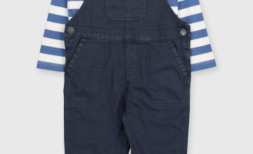 Twill Dungarees & Striped Top Set