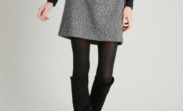 Multi Thread Salt & Pepper A-Line Skirt