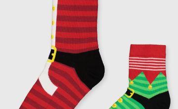 Christmas Mini Me Santa & Elf Socks 2 Pack - 6-11