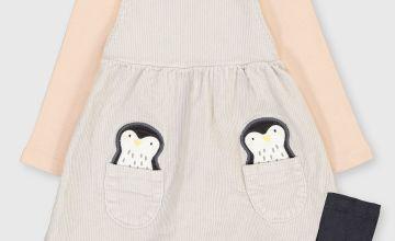 Grey Penguin Top, Pinafore & Tights