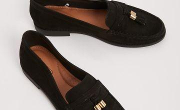 Sole Comfort Black Tassel Leather Loafers